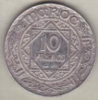Maroc Protectorat Français. 10 Francs AH 1352 (1933), Mohammed V , En Argent - Maroc