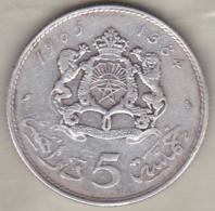 MAROC. 5 DIRHAMS AH 1384 (1965) .HASSAN II .ARGENT - Morocco