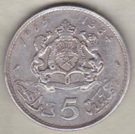 MAROC. 5 DIRHAMS AH 1384 (1965) .HASSAN II .ARGENT - Marokko