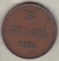 Finlande . 5 Pennia 1875 . Alexander II - Finland