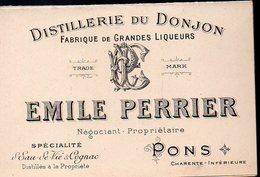 Pons (17 Charente Maritime) Carte Commerciale EMILE PERRIER (distillerie Du Donjon) (PPP12919) - Advertising