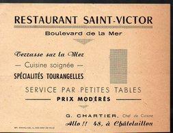 Châtelaillon (17 Charente Maritime ) Carte RESTAURANT SAINT VICTOR  (PPP12920) - Publicités