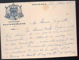 Châtelaillon (17 Charente Maritime ) Carte Manuscrite à Entête PAROISSE STE MADELEINE  1945(PPP12921) - Vieux Papiers