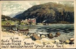 Artiste Lithographie Eckenbrecher, Themistokles Von, Balholm Norwegen, Wasserpartie - Norwegen