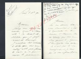 4 LETTRES DE PARIS RUE BERLIN 1890  ECRITE PAR PASTOUREL : - Manuscripts