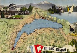 SUISSE,HELVETIA,SWISS,SWITZERLAND,SCHWEIZ,SVIZZERA ,1965,LAC LEMAN,MAP,CARTE GEOGRAPHIQUE - Suisse