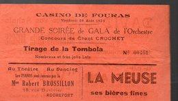 Fouras - Rochefort (17 Charente Maritime) Tombola Du Casino, Avec Plusieurs Pubs Concernant Rochefort (PPP12922) - Biglietti Della Lotteria