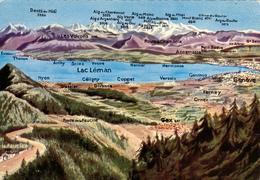 SUISSE,HELVETIA,SWISS,SWITZERLAND,SCHWEIZ,SVIZZERA ,LAC LEMAN,MAP,CARTE GEOGRAPHIQUE,RELIEF - Suisse