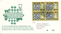 Iceland Cover With Special CHESS Cancel And Cachet International Tournament In Chess Reykjavik  24-8-1976 - Chess