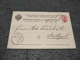 RUSSIA STATIONERY CIRCULATED CARD RUSSIAN CANCEL TO STUTTGART GERMANY 1913 - 1857-1916 Impero
