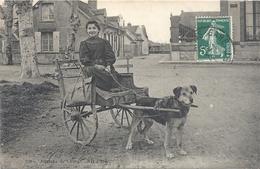 """CPA FILLETTE AVEC UN CABAS ( D'ecole ? ) SUR ATTELAGE A-CHIEN . VUE PRISE A """" LORRIS """" DANS LE LOIRET. AFFR LE 10-1-1911 - Postcards"""