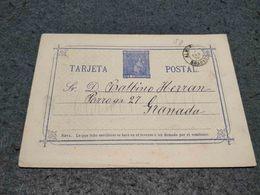 SPAIN STATIONERY CARD GRANADA CANCEL 1876 - Interi Postali