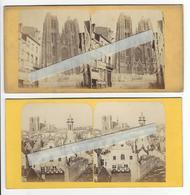 2 Stéréos BELGIQUE BRUXELLES Circa 1855 EGLISE SAINTE GUDULE PHOTO STEREO B.T. /FREE SHIPPING REGISTERED - Photos Stéréoscopiques