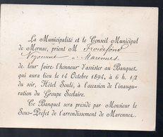 Mornac  Marennes (17 Charente Maritime) Carte D'invitation Inauguration Du Groupe Scolaire (PPP12936) - Sin Clasificación
