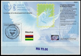 MAURICE MAURITIUS  Is41B  Handstamp RS 72.00 20170802 AA Int. Reply Coupon Reponse Antwortschein IAS IRC Hologram O P.L. - Mauritius (1968-...)