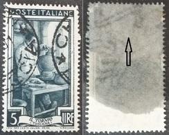 # Filigrana Lettere Alta 10/10 - 5 Lire Ruota 1° DB Italia Al Lavoro - 1946-60: Gebraucht