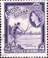 Britisch-Guayana - Eingeborener, Fische Schießend (MiNr: 202) 1954 - Gest Used Obl - British Guiana (...-1966)