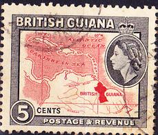 Britisch-Guayana - Landkarte (MiNr: 203) 1954 - Gest Used Obl - British Guiana (...-1966)