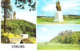 STIRLING - Mehrbildkarte: Wallace Monument / Castle / King Robert The Bruce Statue - Stirlingshire