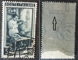 # Filigrana Lettere Alta 10/10 - 5 Lire Ruota 1° SA Italia Al Lavoro - 1946-60: Gebraucht