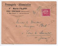 1938 - ENVELOPPE COMMERCIALE D'AJACCIO (CORSE) - Postmark Collection (Covers)