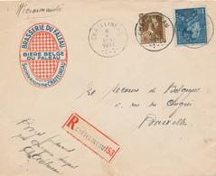 757/26 - BELGIQUE - Lettre Illustrée BRASSERIE Du FALEAU à CHATELINEAU - Recommandée TP Poortman Et Col Ouvert 1937 - Biere