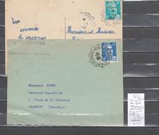 Lettre Cachet Convoyeur Eygurandes Merlines à Montluçon - 2 Pieces - Correze - Spoorwegpost