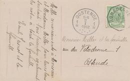 758/26 - Carte Fantaisie TP Armoiries 5 C - Emploi ANORMAL Du Cachet Télégraphique ROMEDENNE 1912 Vers OOSTENDE - Telegraph