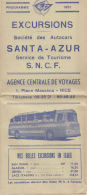 Programme 1961 - Excursions Autocars Agence De Voyages De Nice - Itinéraire Plan -  Italie - Programs