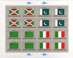 United Nations 1984 Sheet, Flag Series Burundi, Pakistan, Benin, Italy - Francobolli