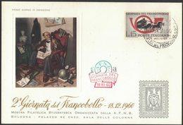 D61  ITALIA 1960 FDC GIORNATA DEL FRANCOBOLLO 18.12.1960 - (Associazione Filatelica Numismatica Bolognese) - 6. 1946-.. Republic