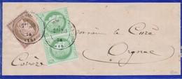 Corrèze 1874 Affr à 20 C Sur Bande Signée Calves TB. - 1871-1875 Cérès