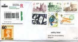 Registered Letter  To Belgium (Gent) - See  Scan - Very NICE !! With HIGH VALUES CASTLES - Postwaardestukken