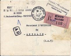 35 - ILLE ET VILAINE - RENNES ST LOUIS  - 1952 - TàD De Type A7 - Handstempel
