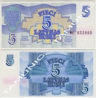 LATVIA LATVIJAS 5 Rubli 1992 UNC - Latvia