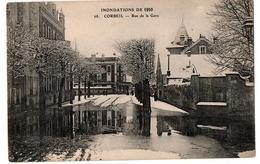 INNONDATIONS 1910 CORBEIL RUE DE LA GARE ANIMEE - Corbeil Essonnes