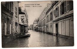 INNONDATIONS 1910 CORBEIL RUE DU 14 JUILLET BARQUE ANIMEE - Corbeil Essonnes