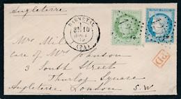 """Env """"Darnetal"""" 1875 Pour Londres Signée Calves TB. - 1871-1875 Cérès"""