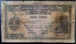 Syria, Lebanon, 5 Pounds 1939, Livres (1),Type C, No:41, G. - Syrie