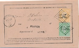 Renseignements 1872 GC 2875 (Plancy) Avec N°s 20 Et 59 TB. - 1871-1875 Cérès