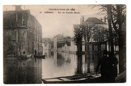 INNONDATIONS 1910 CORBEIL RUE DES GRANDES BORDES BARQUES ANIMEE - Corbeil Essonnes