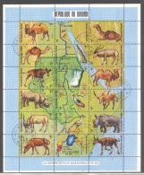 Burundi   Michel #  585 - 602  Kleinbogen Landkarte Nil - Gibier