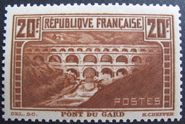 FD/2097 - 1929 - PONT DU GARD - N°262 (IIB) NEUF* - BON CENTRAGE - Cote : 325,00 € - France