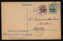 BRASSERIE ET MALTERIE DEQUESNE - THIEUSIES   - DUITSE CONTROLE STEMPEL 1916 - NAAR ASSE -  ZIE 2 AFBEELDINGEN - Asse