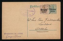 BRASSERIE DE LESVE - GEORGES RASE   - DUITSE CONTROLE STEMPEL 1916 - NAAR ASSE -  ZIE 2 AFBEELDINGEN - Asse