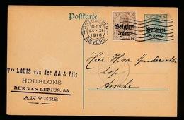Vve.LOUIS VAN DER AA - ANVERS      - DUITSE CONTROLE STEMPEL 1916 - NAAR ASSE -  ZIE 2 AFBEELDINGEN - Asse