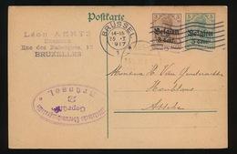 BRASSEUR LEON AERTS - BRUXELLES   - DUITSE CONTROLE STEMPEL 1917 - NAAR ASSE -  ZIE 2 AFBEELDINGEN - Asse