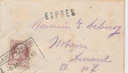 759/26 - Petite Enveloppe EXPRES TP Grosse Barbe 35 C Cachet De Gare SAINT GERARD 1912 Vers DINANT - 1905 Thick Beard