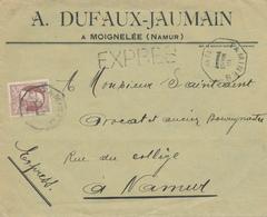 760/26 - Enveloppe EXPRES TP Grosse Barbe 35 C - Cachet Télégraphique TAMINES 1912 Vers NAMUR - 1905 Thick Beard