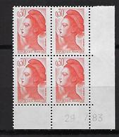 """FR Coins Datés YT 2182 """" Liberté 30c. Orange """" Neuf** Du 29.7.83 - 1980-1989"""